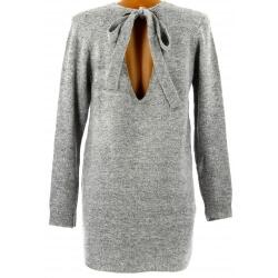 Pull femme long laine dos V avec nœud gris GILDAS
