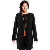Pull femme long laine dos V avec nœud noir GILDAS