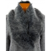 Grand col femme fausse fourrure chic gris ALBANO