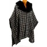 Cape femme hiver fausse fourrure tweed noir ELEA