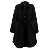Manteau femme grande taille hiver laine noir SONIA