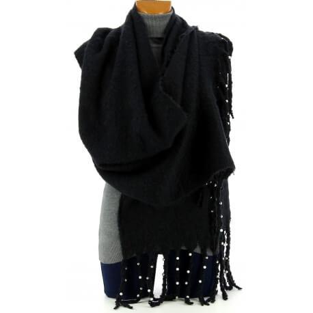 Grosse écharpe femme hiver laine perles noir VIENNE
