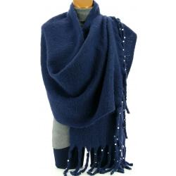 Grosse écharpe femme hiver laine perles bleu VIENNE
