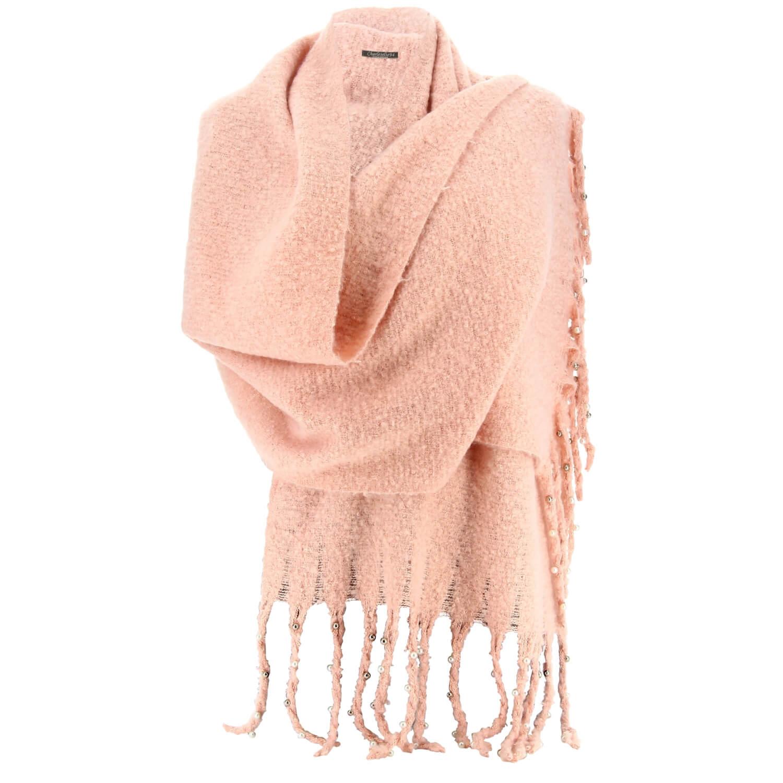2380e5a5d6a8 Grosse écharpe femme hiver laine perles rose tendre VIENNE