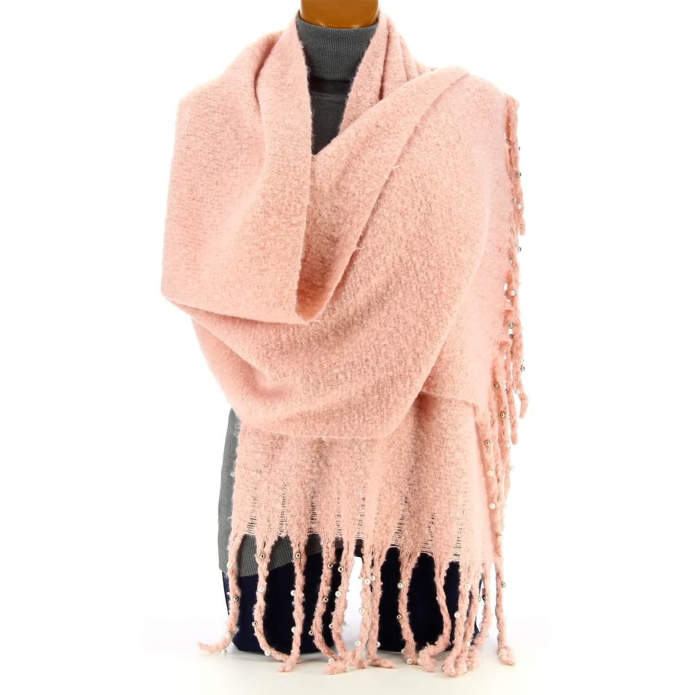 eb296e428fd5 Grosse écharpe femme hiver laine perles rose tendre VIENNE