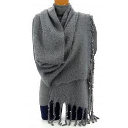 ac799f1cddf Grosse écharpe femme hiver laine perles noir VIENNE