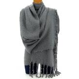 Grosse écharpe femme hiver laine perles gris VIENNE