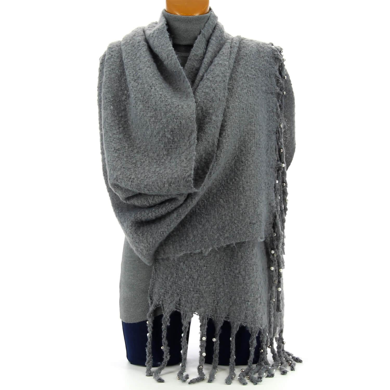 grosse charpe femme hiver laine perles gris vienne. Black Bedroom Furniture Sets. Home Design Ideas
