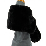 Cape boléro fausse fourrure hiver noir DOUCEUR