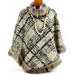 Cape poncho laine fourrure grande taille hiver SALLY