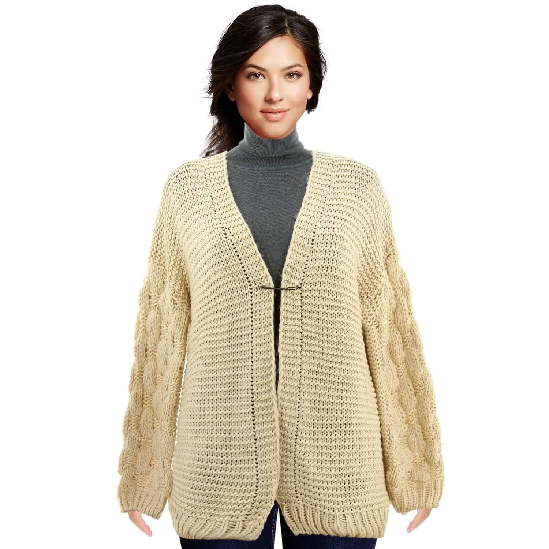 Gilet femme grosse maille hiver laine beige DAVE 887fac708b37