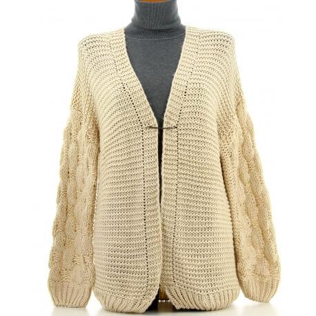 Gilet femme grosse maille hiver laine beige DAVE