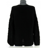 Gilet femme grosse maille hiver laine noir DAVE
