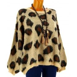 Pull femme mohair oversize léopard BARCELONE