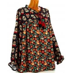 Tunique blouse grande taille bohème noir SKULL