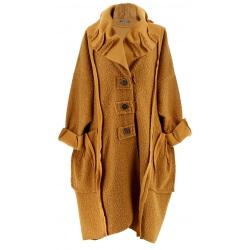 Manteau femme grande taille hiver bouclette camel CLAUDIO