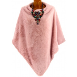 Poncho cape fausse fourrure hiver rose CAMPUS