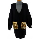 Gilet femme long laine fourrure hiver noir LONDRES