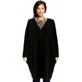 Gilet femme grande taille long oversize noir GASPARD