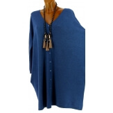 Gilet femme grande taille long oversize bleu jean GASPARD