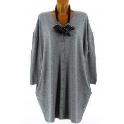 Gilet femme grande taille long oversize gris GASPARD