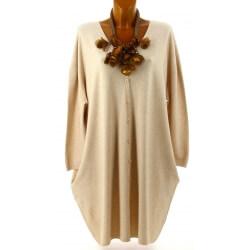 Gilet femme grande taille long oversize beige GASPARD