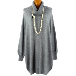 Pull femme long grande taille oversize gris JENNY