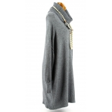 Pull femme long grande taille oversize gris JENNY