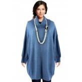 Pull femme long grande taille oversize bleu jean JENNY