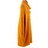 Pull femme long grande taille oversize moutarde JENNY