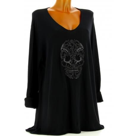 Tunique grande taille t-shirt bohème noir CALAVERA