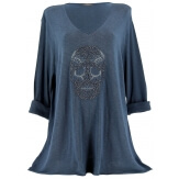 Tunique grande taille t-shirt bohème bleu CALAVERA