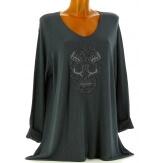 Tunique grande taille t-shirt bohème gris CALAVERA