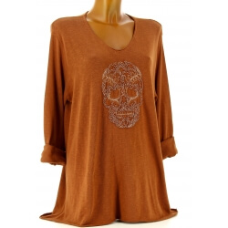 Tunique grande taille t-shirt bohème potiron CALAVERA