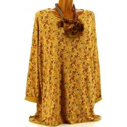Tunique grande taille t-shirt bohème moutarde SOUKA