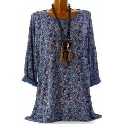 Tunique grande taille t-shirt bohème bleu jean SOUKA