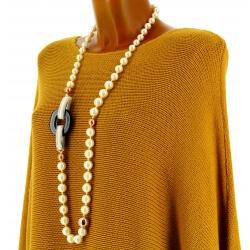 Collier long sautoir perles et résine bohème chic C25