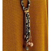 Sautoir collier long perles de verre C33