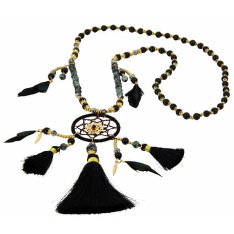 Sautoir collier long attrape rêve perles de verre C34