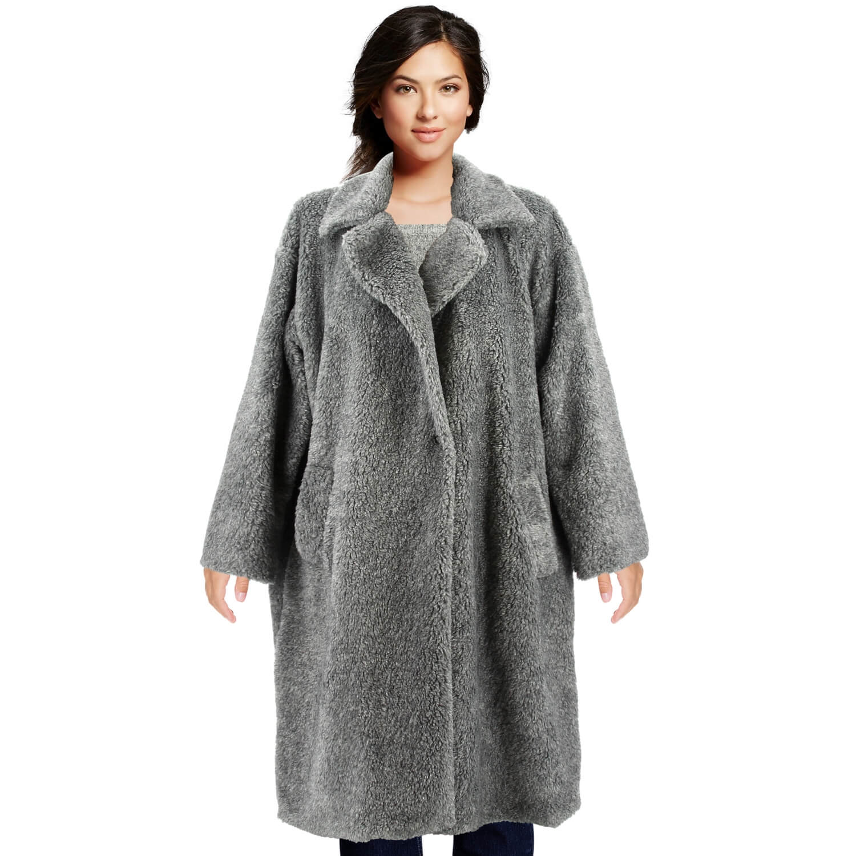 c908d4d2625 Manteau fausse fourrure femme hiver gris MANGA