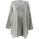 Pull long grande taille laine bohème gris clair GALAXIE
