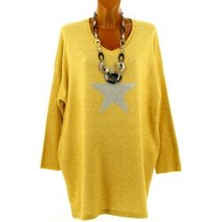Pull long grande taille laine bohème jaune GALAXIE