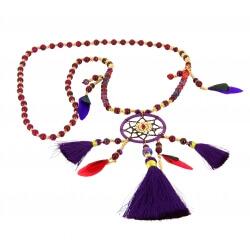 Sautoir collier long attrape rêve perles de verre C36