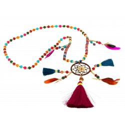 Sautoir collier long attrape rêve perles de verre C37