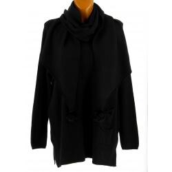 Pull + écharpe pompons femme grande taille noir PASTOUR