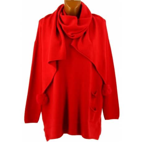 Pull + écharpe pompons femme grande taille rouge PASTOUR