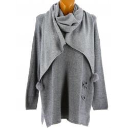 Pull + écharpe pompons femme grande taille gris PASTOUR