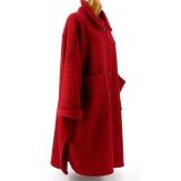Manteau femme grande taille hiver laine rouge bordeaux SONIA