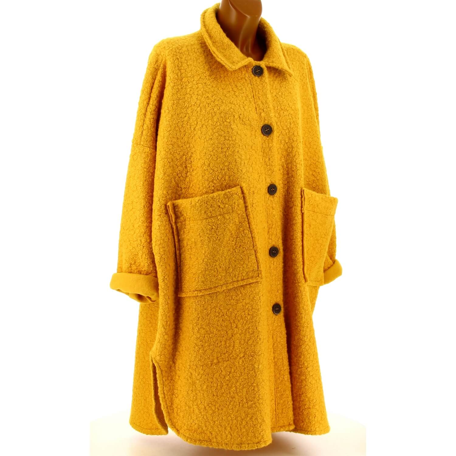 Manteau femme grande taille hiver laine moutarde SONIA. Loading zoom b931cf1ffd2c