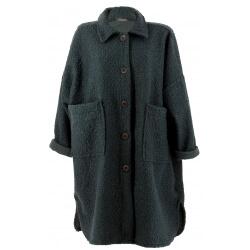 Manteau femme grande taille hiver bouclette gris SONIA